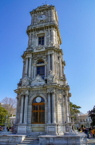 the clock tower at dolmabahce palace in istanbul