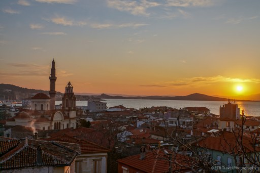 sunset view from the pension of Ayvalik