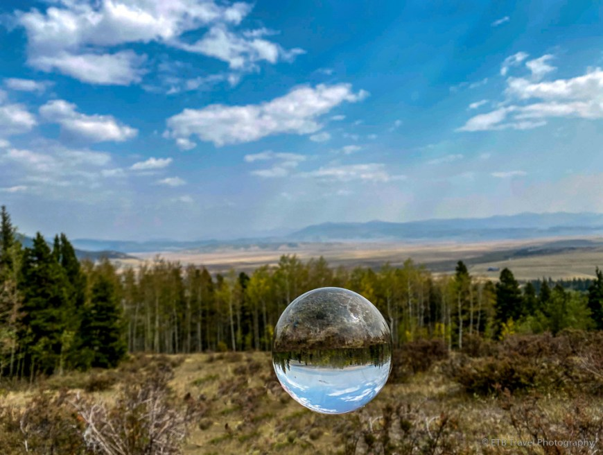 lensball view of aspen on the Gold dust Trail