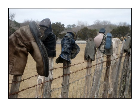 boots on a fence notecard