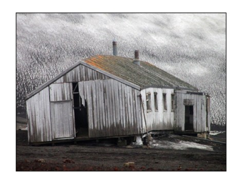 photographic note card, old house in antarctica