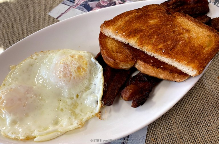 eggs and bacon at Nely's Corner in Everglades City