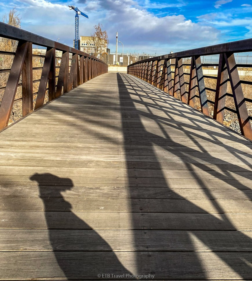 Annie's shadow on a bridge over the platte river trail