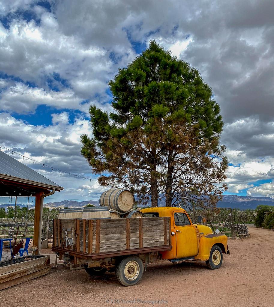 old fashion truck at peachfork orchard