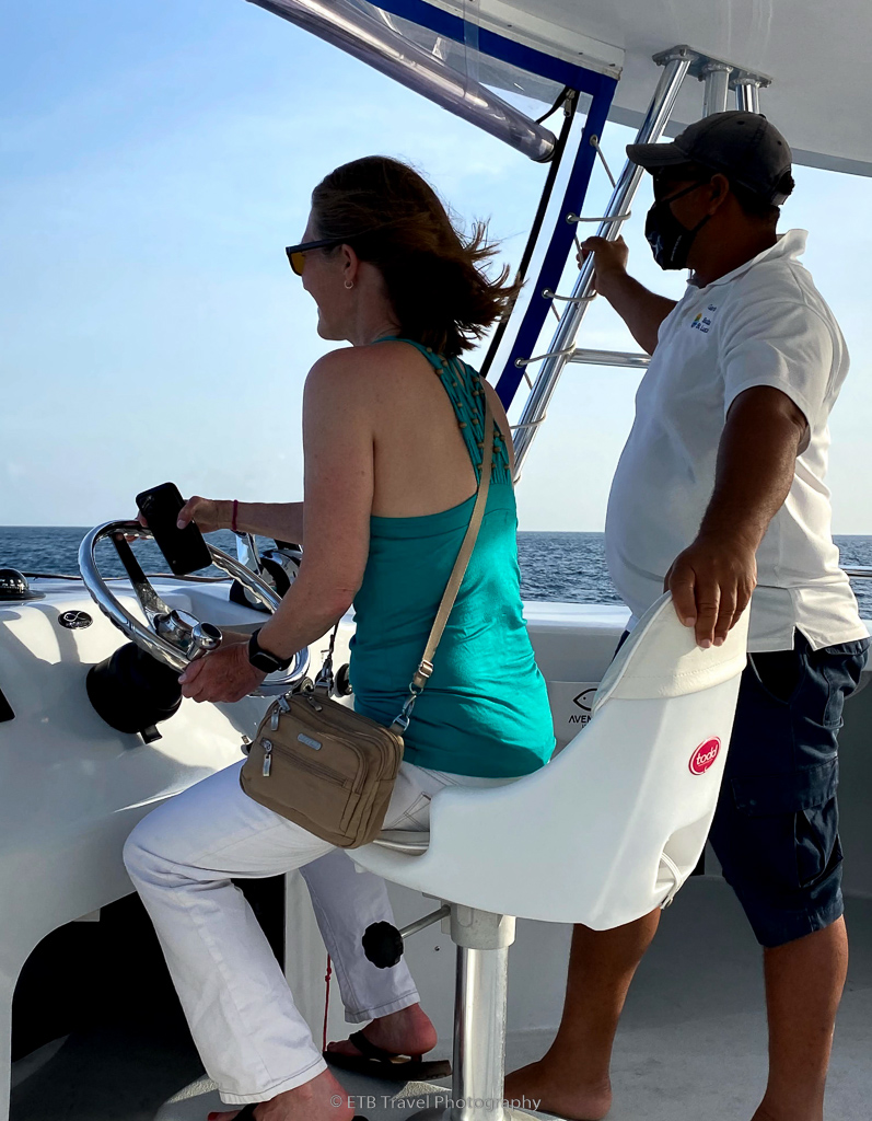 driving the boat at anse chastenet