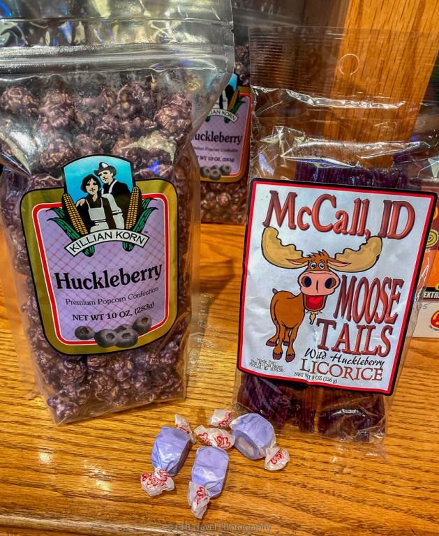 huckleberry licorice, popcorn, and taffy