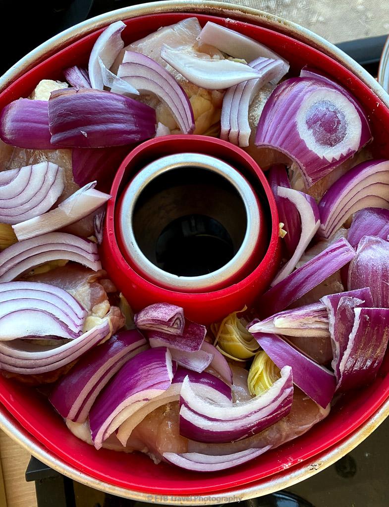 omnia oven chicken, artichoke and onion