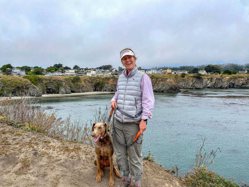 me and annie with mendocino in the background