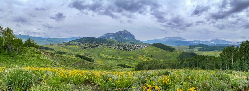 view of Crested Butte Ski Resort from Snodgrass Trail