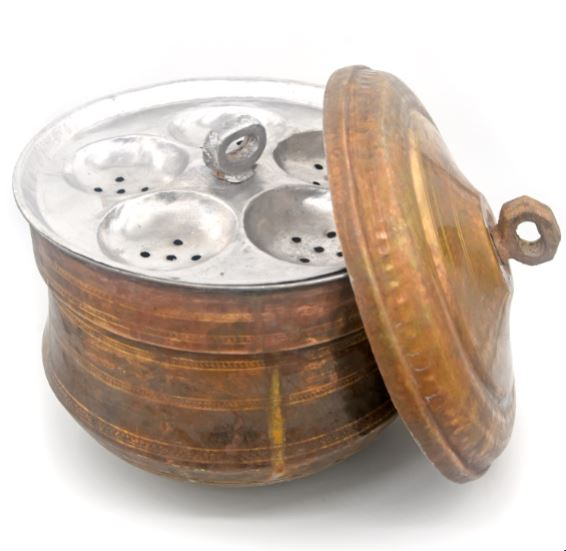 antique brass idli maker