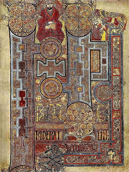 <em>The Book of Kells</em> completed in Ireland, c. 800 CE. This folio shows the lavishly decorated text that opens the Gospel of John.