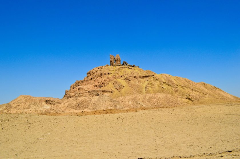 The city of Borsippa is marked by this survived ziggurat and temple of God Nabu. The so-called tongue tower lies on the top. People thought that these are the ruins of the Tower of Babylon