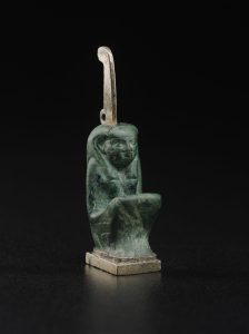 Amulet of Maat 743–712 B.C. Gilded silver and malachite *Harvard University—Boston Museum of Fine Arts Expedition *Photograph © Museum of Fine Arts, Boston