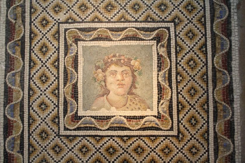 A 3rd century CE Roman floor mosaic depicting Bacchus, god of wine. From via Flaminia, Rome. Palazzo Massimo, Rome.