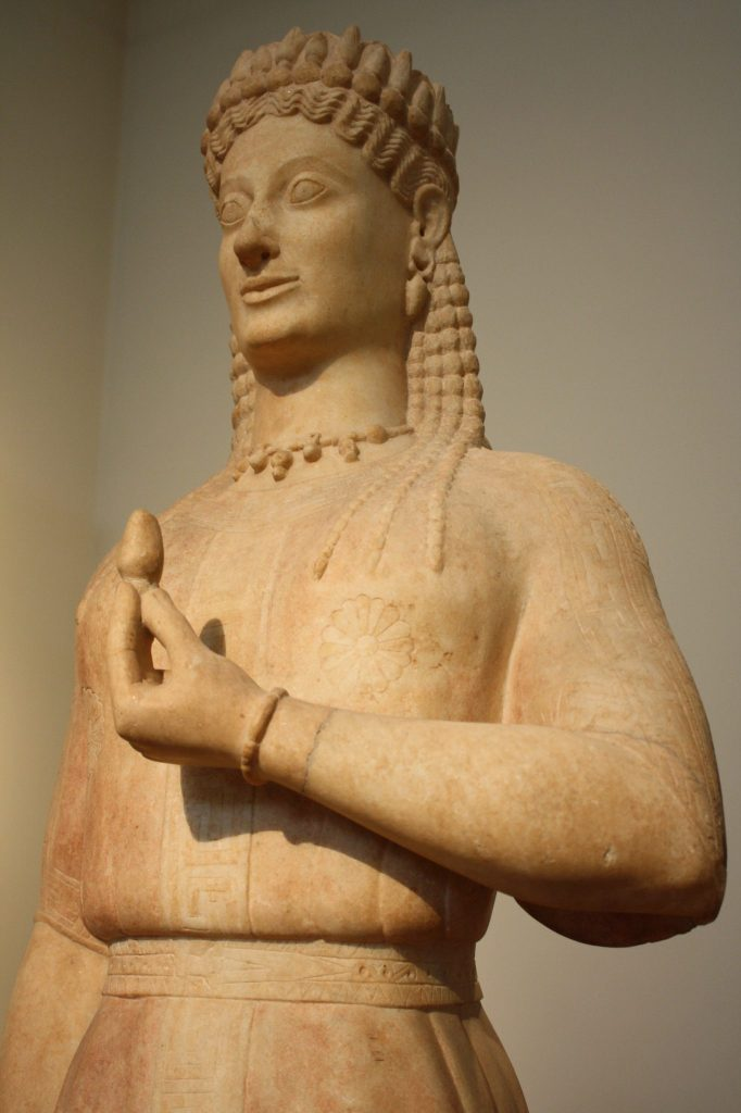 A kore from Attica, Parian marble, 550-540 BCE.