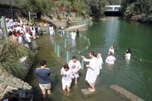 Christians from around the world come to Yardenit near the Sea of Galilee to be baptized in the River Jordan. (photo: Rick Steves)