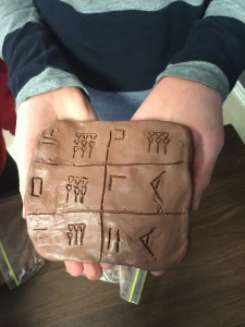 Cuneiform tablet made by a sixth grader in my class.