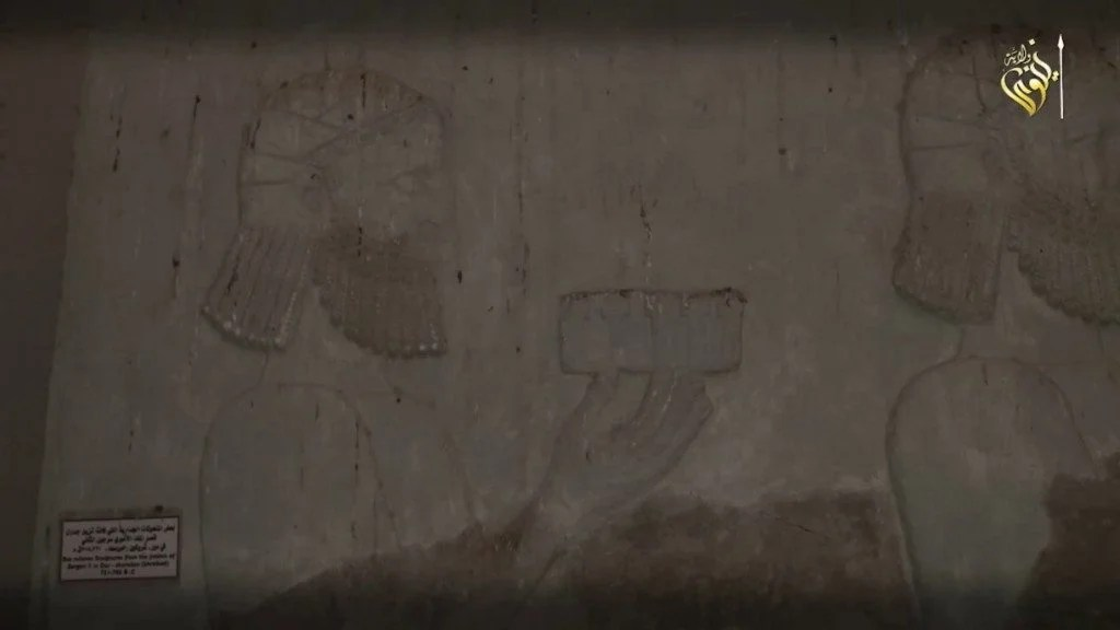 Relief from Dur-Sharrukin (Khorsabad) in the Mosul Museum, 1:19 of ISIS video.