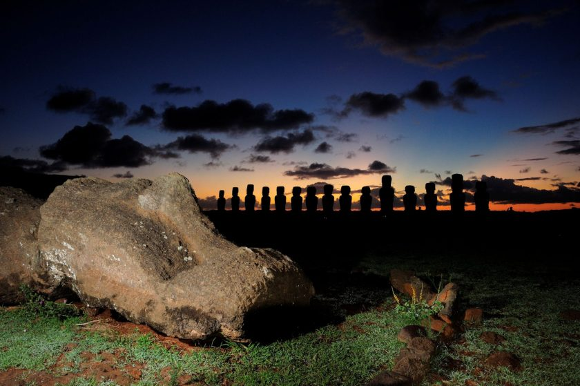 Ahu Tongariki, Easter Island, Chile. Adam Stanford @Aerial-Cam for RNLOC. (Courtesy of Manchester Museum.)
