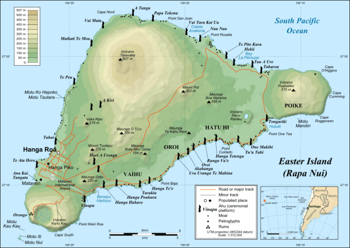 Map of Easter Island, using <em>moai</em> to show locations of various <em>ahu</em> (ceremonial platforms). There are close to 900 <em>moai</em> on the island; presently, half are still in the quarry where they were originally made, but the other half are located around the island's perimeter. (Original uploader was Eric Gaba at en.wikipedia, 2008-21-10. This file is licensed under the Creative Commons Attribution-Share Alike 2.5 Generic license.)