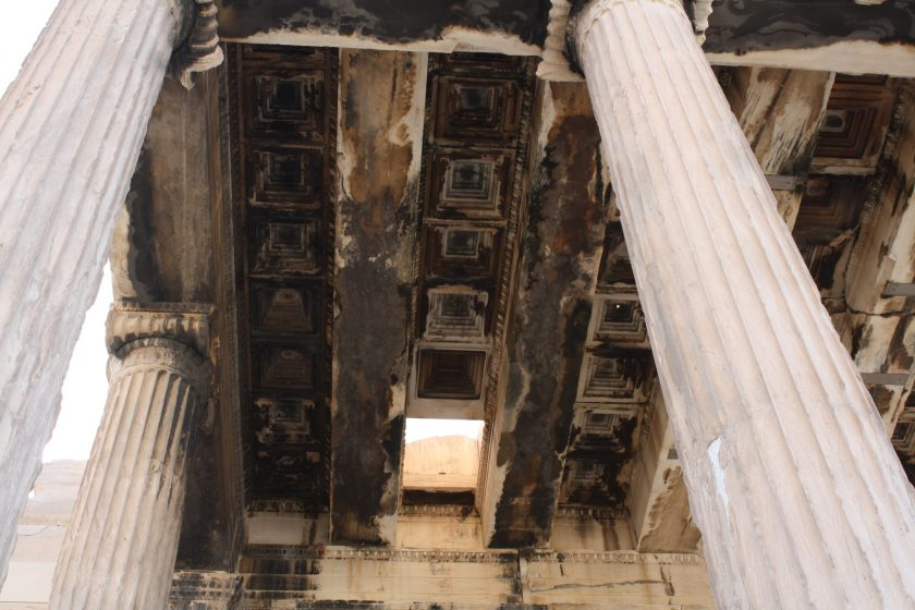 The ceiling of the north porch of the Erechtheion. Here was an altar and precinct sacred to Zeus Hypatos, as it was believed to be the spot where Zeus struck down Erechtheus with a thunderbolt