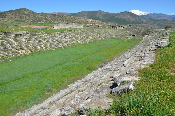 The Aphrodisias stadium, dated to the 1st century AD. It is the best-preserved stadium in Asia Minor. The stadium is 262 m in length and 52 m in width, with a seating capacity of 30,000 people.
