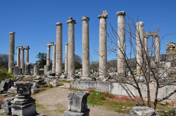 The Temple of Aphrodite, built in the Ionic order in stages during the Roman period (from 1st century BC to 2nd century AD) and later converted into a Christian basilica, Aphrodisias, Caria, Turkey