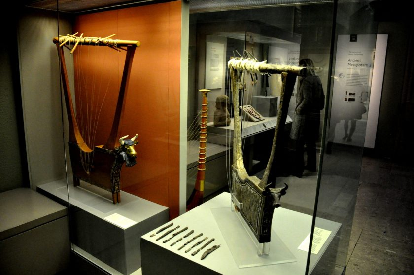 """These lyres were found in queen Pu-Abi's grave, inside the """"Great Death-Pit"""", one of the graves in the Royal Cemetery at Ur. From Ur, southern , Iraq. Early dynastic period, 2600-2400 BCE. The British Museum, London. Photo © Osama Shukir Muhammed Amin"""