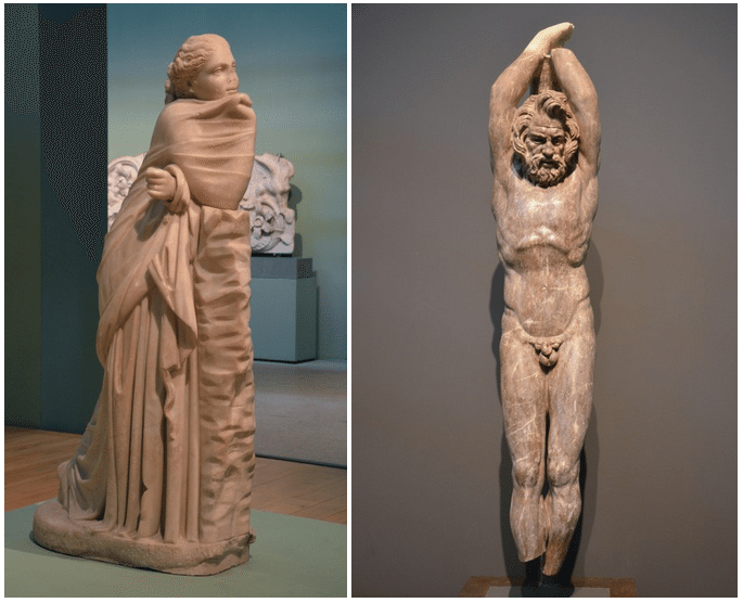 Statue of a Muse (Polyhymnia?) & 2nd c. AD statue in red marble of Marsyas, a satyr who dared challenge Apollo to a music contest, Centrale Montemartini, Rome museum. Photo © Carole Raddato.