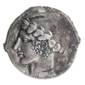 Tetradrachm with Apollo from Leontini, 435-430 BCE. The American Numismatic Society (1997.9.121). This silver coin together with coin no.19 span part of the ancient Greek-speaking world, from Leontini in Sicily to Alabanda in Asia Minor (modern western Turkey). The head of Apollo in profile on the obverse, or front, of marks the wide popularity of this perpetually youthful Olympian god. Greek adult men would ritually cut their hair and grow a beard, but Apollo, whose long hair is often described as golden, defines the ultimate appearance of an ephebe, a beardless adolescent. Apollo wears a wreath of leaves from a laurel, a tree associated with the god's oracle and cult at Delphi. According to Greek myth, its origins lie in the story of the beautiful nymph Daphne (the Greek word for laurel), who was transformed by Zeus into a laurel tree in order to avoid Apollo's ardent and unwanted advances. Her long tresses became the tree's branches. The story was recounted, among others, by the ancient Roman poet Ovid in the Metamorphoses.