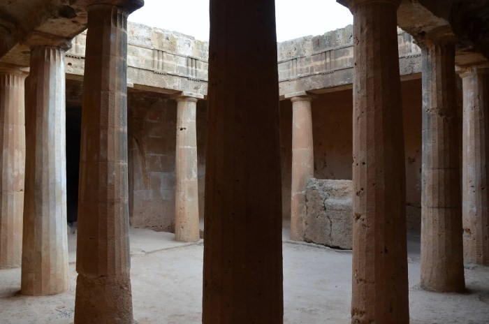 Tomb No 3 with peristyle atrium surrounded on all sides by Doric columns and topped by a frieze of triglyphs and metopes, Tombs of the Kings, Kato Pafos