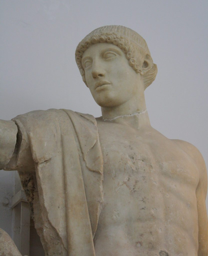 5th century BCE Apollo from the west pediment of the temple of Zeus, Olympia (Olympia Archaeological Museum).