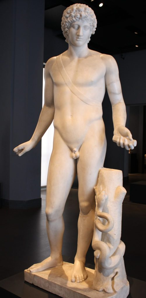 A marble statue of Apollo showing his familiar attributes of a quiver slung over his shoulder, the snake, and the laurel. From an imperial villa in Rome. 2nd century CE classicizing copy of a 4th century BCE Greek original. (Palazzo Massimo, Rome)