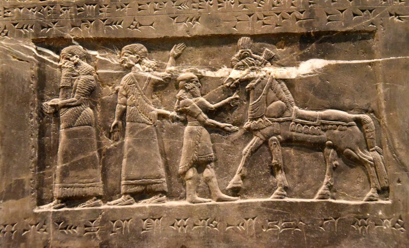 There are two Assyrian officials, a foreign groom, and a horse with rich trappings (which represent the horses for which Gilzanu was famous). Photo © Osama S. M. Amin. Black Obelisk of Shalmaneser III.