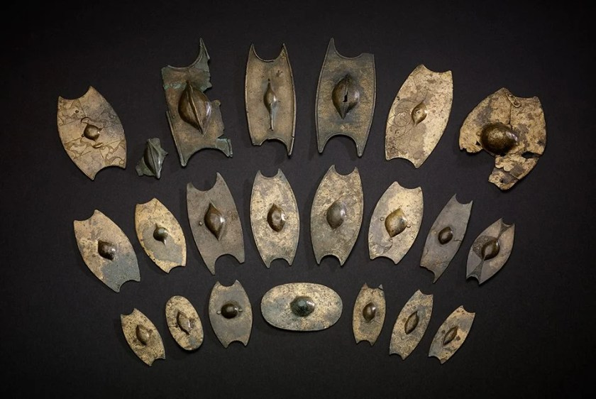 A collection of miniature shields from the Salisbury Hoard, one of the major British hoards. Image © Trustees of the British Museum.