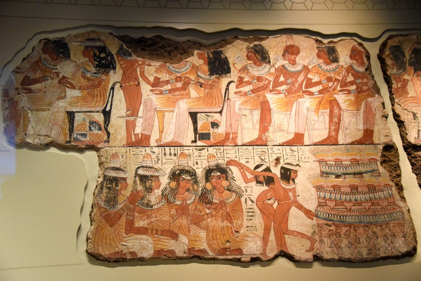 Part of the feast scene. Musicians are playing their instruments. Some naked young girls are dancing while other naked girls are serving Nebamun's guests. The British Museum, London. Photo © Osama S. M. Amin.