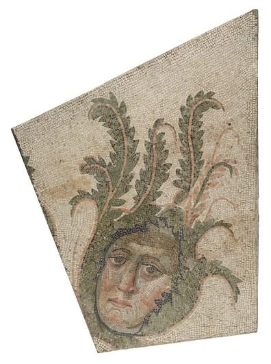 Mosaic Floor Panel, 4th century AD. Roman, Stone tesserae. H: 129.5 to 174 × W: 148 to 87.6 × D: 9.5 cm (51 to 68 1/2 × 58 1/4 to 34 1/2 × 3 3/4 in.). The J. Paul Getty Museum, Villa Collection, Malibu, California.