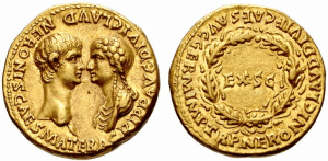 Coin from 54 CE depicting Nero and Agrippina as equals Image © Classical Numismatic Group, Inc. CC-BY-SA-3.0 or CC BY-SA 2.5 via Wikimedia Commons.