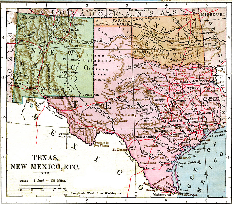 Texas, New Mexico, and Indian Territory