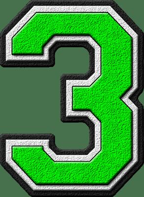 Presentation Alphabets Kelly Green Varsity Numeral 3