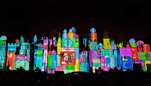 "Magic, Memories and You projected on ""it's a small world"" attraction"