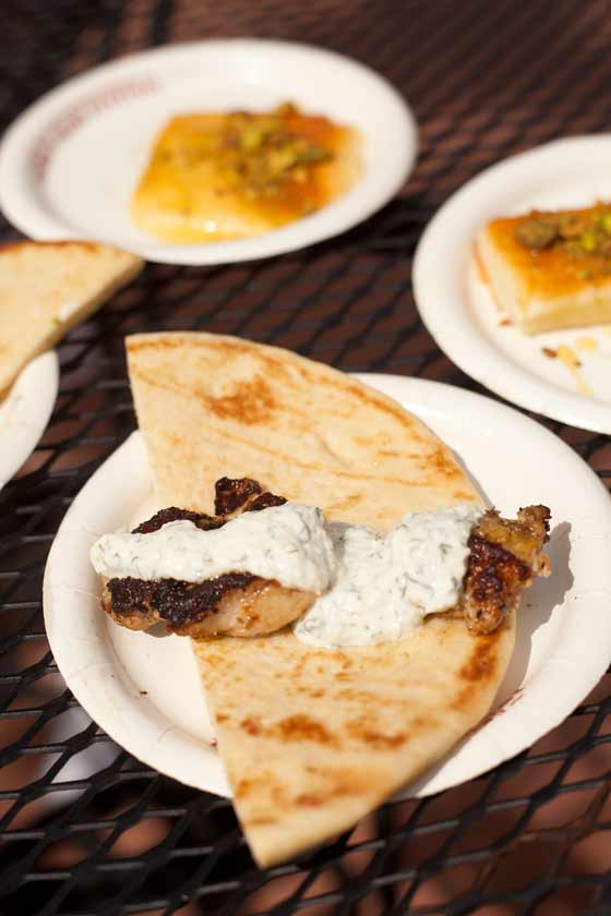 Chicken souvlaki and griddled cheese
