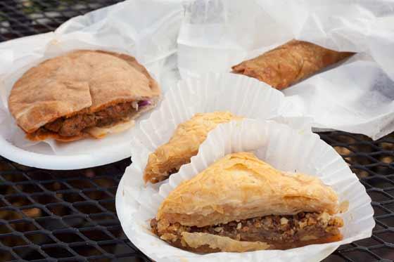Beef kefta, harissa chicken roll and baklava