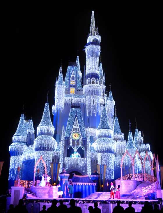 Cinderella Castle covered in lights