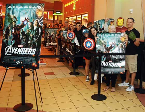 Theater goers waiting to see Marvel's The Avengers