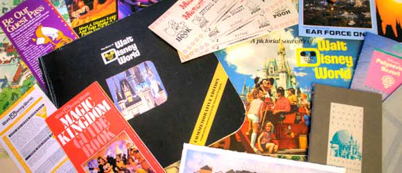 Assemblage of ephemera from the Walt Disney World® Resort throughout the years.