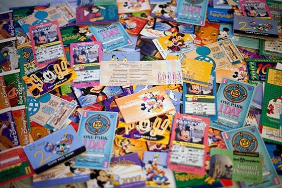 Assortment of park tickets for the Walt Disney World®Resort.