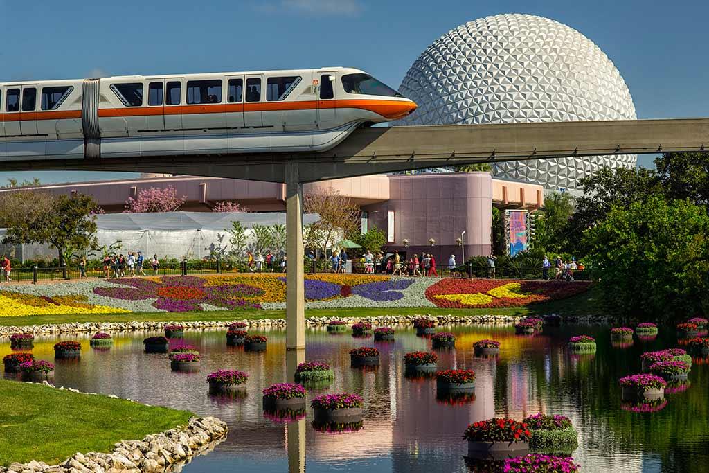 Monorail riding through Epcot