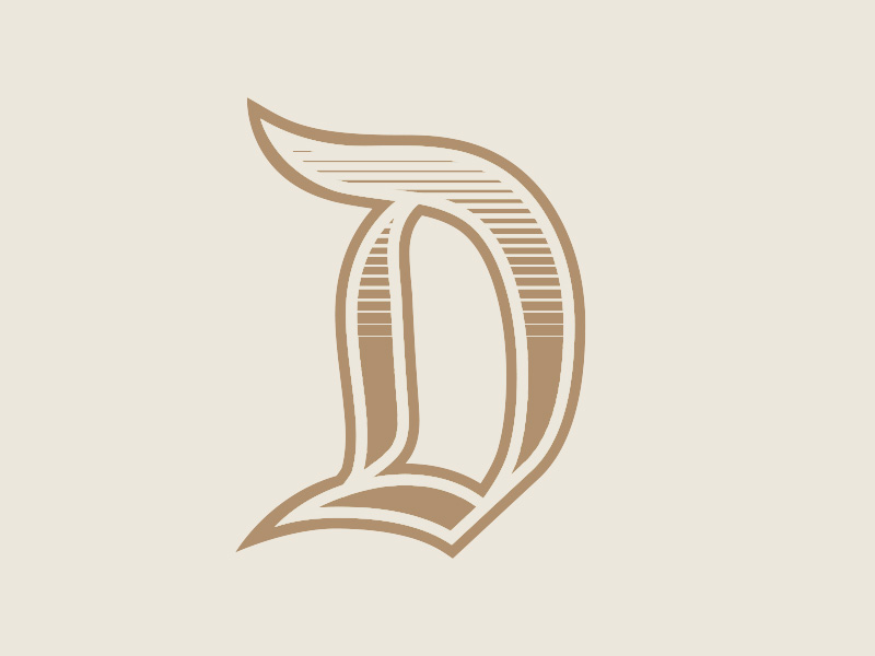 "Illustration of a stylized ""D"""