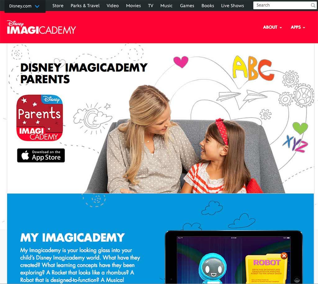 Disney Imagicademy website screenshot
